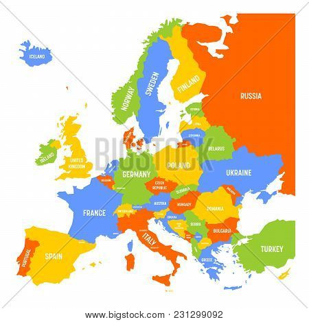Map Europe Names Vector Photo Free Trial Bigstock