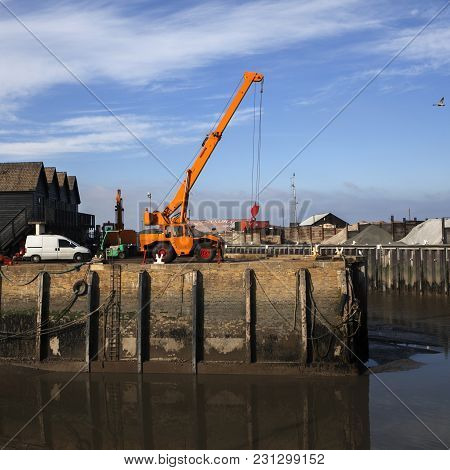 Whitstable, Kent, Uk - Dec 9: A Very Low Tide Strands Fishing Boats On The Mud In The Harbour At Whi