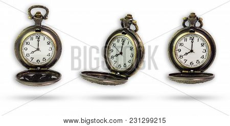 Set Of Old Pocket Watch Isolated On White Background With Clipping Path.
