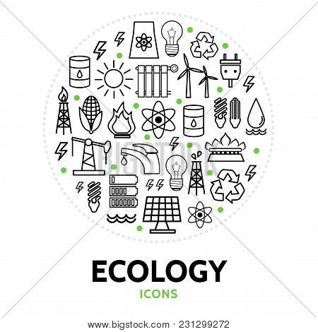 Ecology Round Concept With Electric Bio Eco And Environmental Line Icons Isolated Vector Illustratio