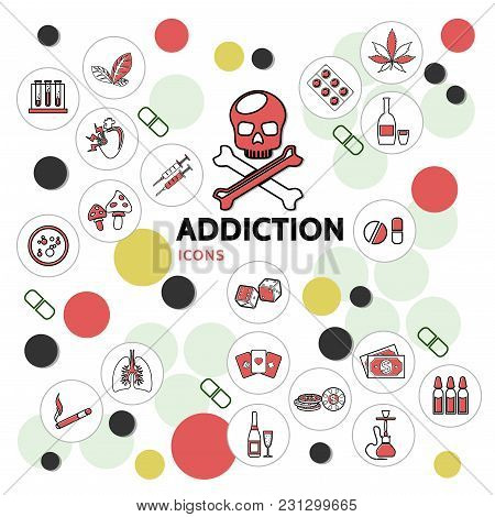 Harmful Addictions Line Icons Collection With Skull Sick Lungs Drugs Gambling Mushrooms Narcotic Hoo