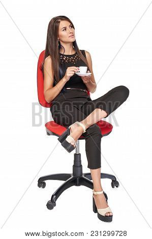 Business Woman Relaxing Sitting On Office Chair With Coffee Cup Looking To Side, Isolated On White B