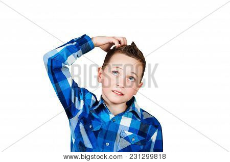 Portrait Young Man Scratching Head, Thinking Daydreaming Deeply About Something, Looking Up, Isolate
