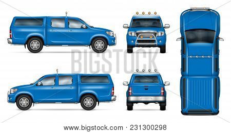 Pickup Truck Vector Mock-up. Isolated Template Of Blue Car On White. Vehicle Branding Mockup. Side,