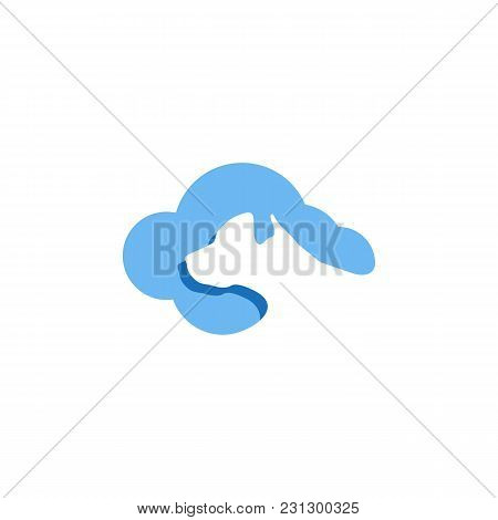 Modern Cloud Dog Head Icon Vector Element Template