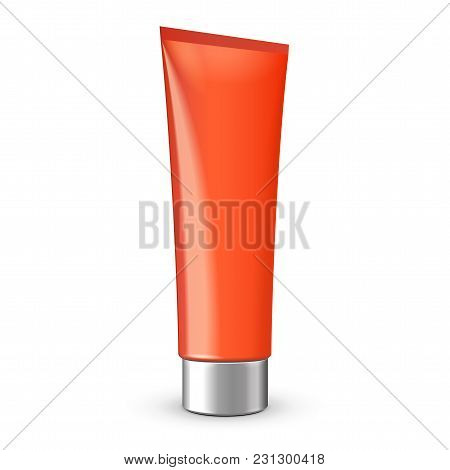 Tube Of Cream Or Gel Red Clean With Gray Silver Chrome Lid. Ready For Your Design. Product Packing