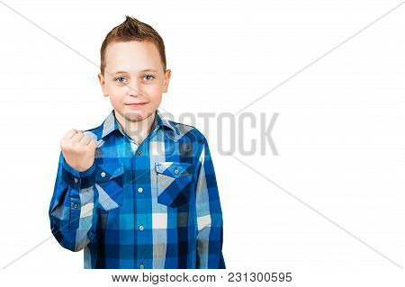 Boy Showing His Fist With Serious Face. Isolated On White Background.