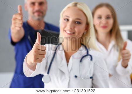 Group Of Doctor Show Ok Or Confirm Sign With Thumb Up Portrait. High Level Therapy Great Heal Partic