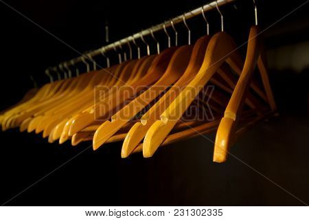 Concept - All Gone. Wardrobe With Clothes Hangers.