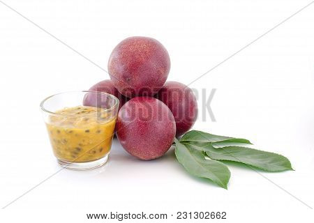 Passion Fruits Isolated Close Up On White Background