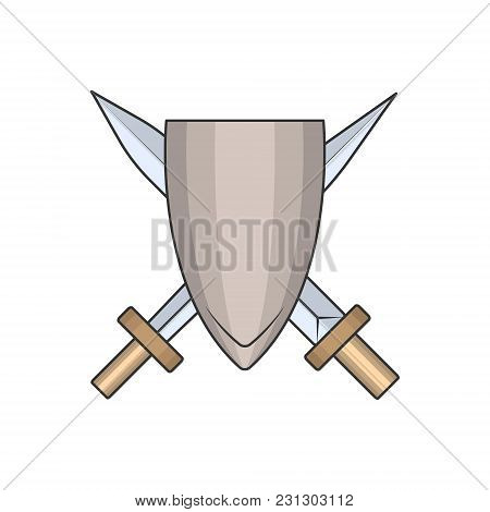 Vector Image Of A Shield With Swords In A Cartoon Style. Vector, Isolated.
