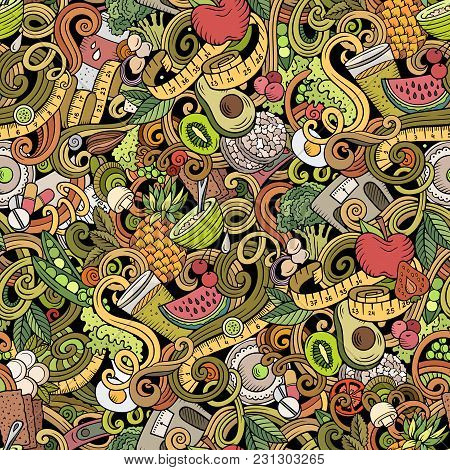 Cartoon Cute Doodles Hand Drawn Diet Food Seamless Pattern. Colorful Detailed, With Lots Of Objects