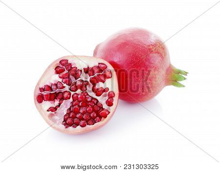 Pomegranate Close Up Isolated On White Background