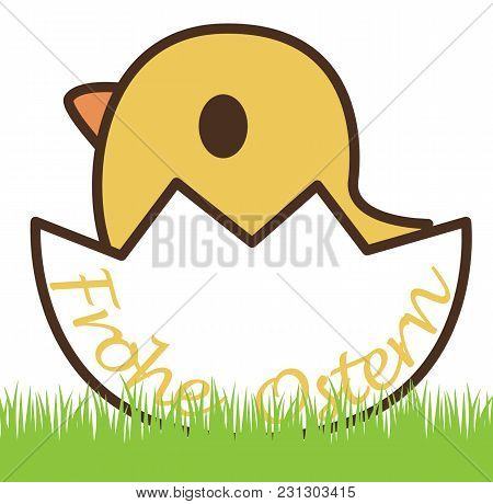 Chick In An Eggshell And German Text For Happy Easter, Isolated On White