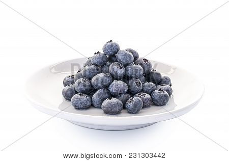 Blueberries Isolated Close Up On White Background.