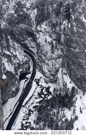 Aerial View Of Curvy Road In Bicaz Chei, Romania