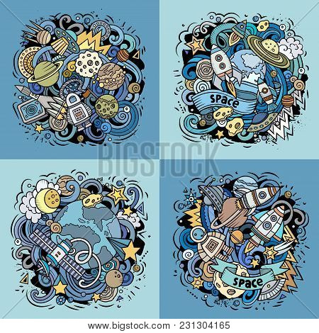 Space Cartoon Vector Doodle Illustration. Colorful Detailed Designs With Lot Of Objects And Symbols.