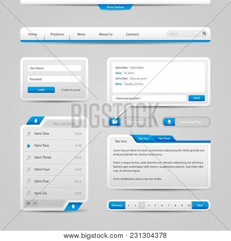 Web Ui Controls Elements Gray And Blue On Light Background: Search, Scroll, Download, Pagination, Ch