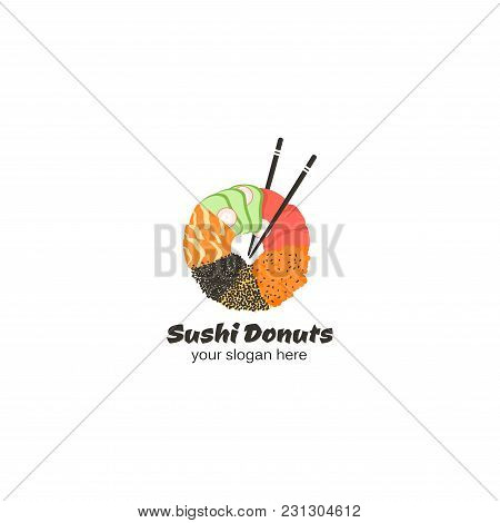 Original Logo With Sushi Donuts And Chinese Sticks. Vector Sign For Sushi Bar, Cafe Or Restaurant. Y
