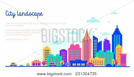 City Landscape Template With Copy Space. Flat Style Silhouettes Of Buildings In Neon Glow Vivid Colo
