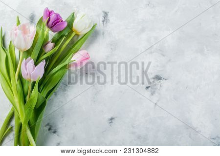 Spring Concept - Easter, Mothers Day, Flowers On Marble Background, Copy Space