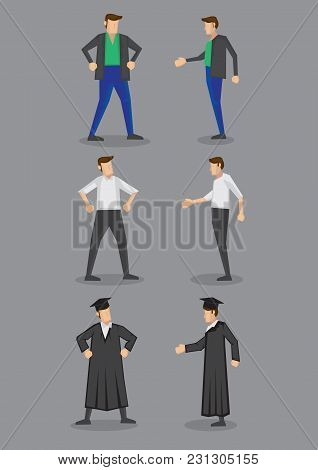 Front And Side View Of Cartoon Modern Man Wearing Different Attire And Outfits. Vector Illustration