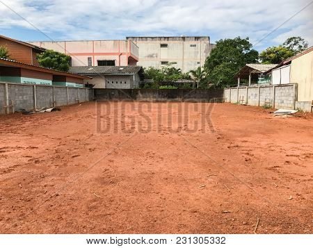 Empty Land And Wall For Construction In Thailand