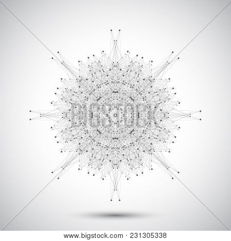 Geometric Abstract Form With Connected Lines And Dots. Modern Illustration.