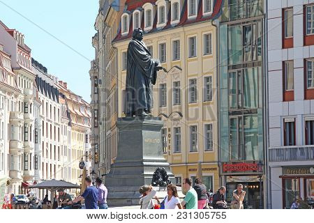 Dresden, Germany - April 27, 2012: This Is A Monument To Martin Luther, The Initiator Of The Reforma