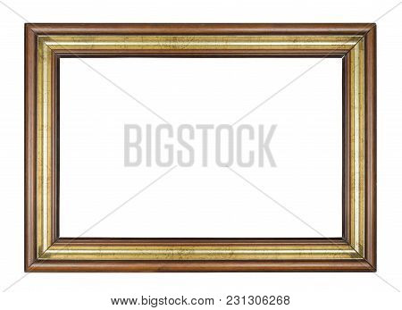 Vintage Brown And Rectangle Frame On A White Background, Isolated