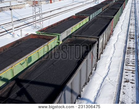 Railway Transport. Transportation Of Coal In Wagons. Energy Resource, Extraction Of Minerals.