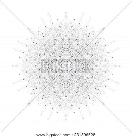 Geometric Abstract Form With Connected Lines And Dots, Illustration.