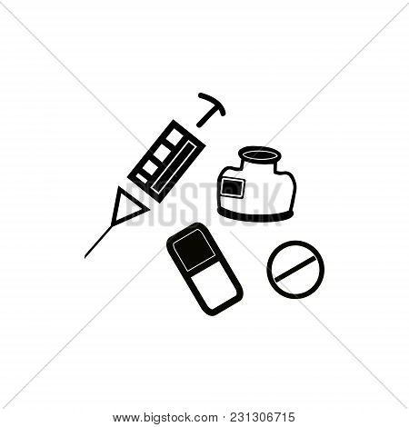 Medicines For Animals Icons On White Background
