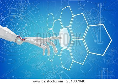 Robot Hand Push The Hexagon Button In Hexagons Over Blue Background. 3d Rendering