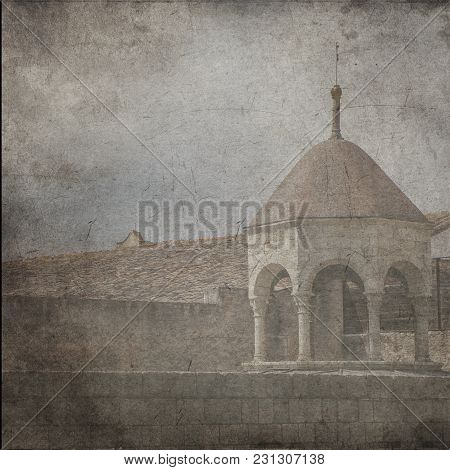 Textured Old Paper Background With Old View Of The Old Town. Jerusalem, Israel. Old City Of Jerusale