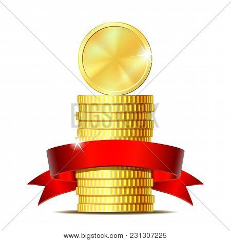 Stack Of Coins With Red Ribbon. Concept Of Pecuniary Profit, Finance Success Or Presents. Vector Ill