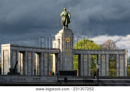 Berlin, Germany - April 16, 2017: Tourists Visit The Soviet War Memorial On April 16, 2017 In Berlin