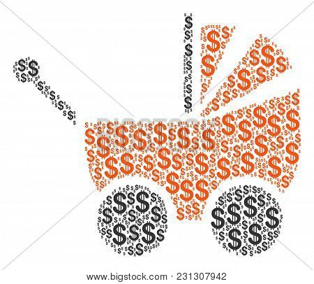 Baby Carriage Mosaic Of Dollars. Vector Dollar Pictograms Are Composed Into Baby Carriage Collage.