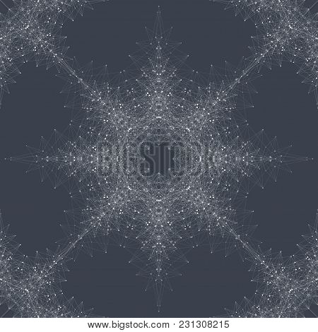 Geometric Seamless Texture. Molecule And Communication. Connected Lines With Dots. Concept Of The Sc