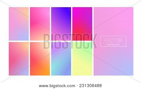 Screen Gradient Set With Modern Abstract Backgrounds. Colorful Fluid Cover For Poster, Banner, Flyer