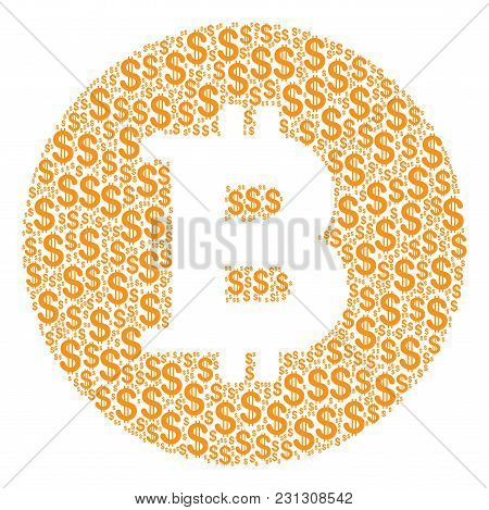 Bitcoin Coin Composition Of Dollar Symbols. Vector Dollar Currency Icons Are Combined Into Bitcoin C