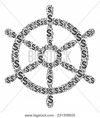Boat Steering Wheel Collage Of American Dollars. Vector Dollar Currency Symbols Are Combined Into Bo