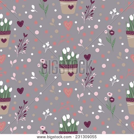 Happy Easter Seamless Pattern. Vector Spring Background. Spring Flowers. Doodle Style. Hand Drawn De
