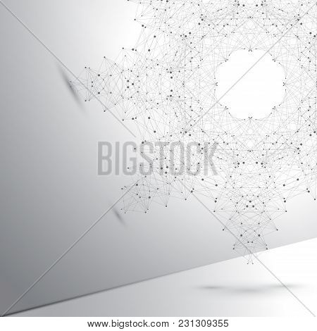 Geometric Abstract Form With Connected Line And Dots. Graphic Background For Your Design., Illustrat