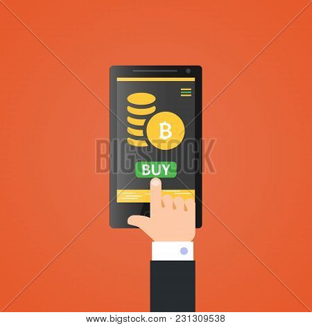 Buy Bitcoin.crypto Payment Concept.pay Per Click By Virtual Currency.flat Illustration For Business