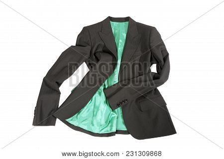Elegant Gray Female Jacket With Green Lining  Isolated Over White