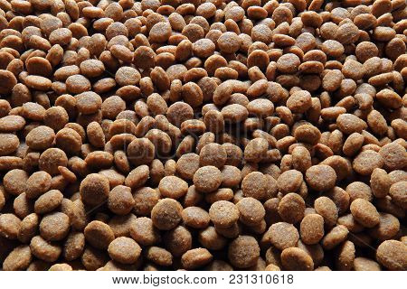 Dog Food Background. Close-up View Of Feed For Dog.