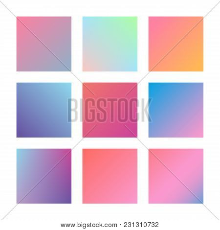 Square Gradient Set With Modern Abstract Backgrounds. Colorful Fluid Covers For Calendar, Brochure,