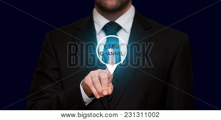 The Concept Of Omnichannel With Businessman On Black Background