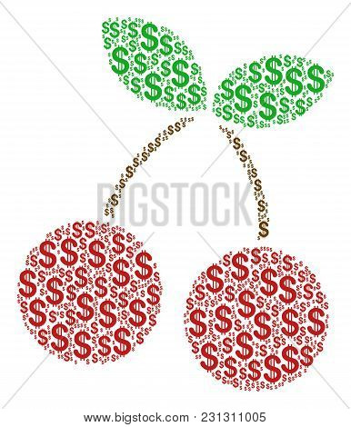 Cherry Mosaic Of Dollars. Vector Dollar Currency Icons Are Composed Into Cherry Illustration.